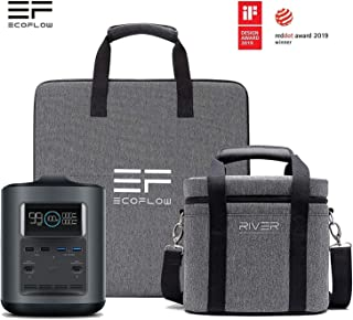 EF ECOFLOW River 370 Portable Power Station with 50W Solar Panel, 370Wh Camping Generator Emergency Backup Power Supply w/Dual 110V AC Outlets + Foldable Monocrystalline Solar Panel w/ 5V USB Ports