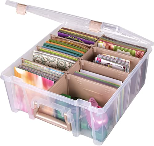 ArtBin 6990RK Super Satchel Double Deep, Portable Art & Craft Organizer with Handle, [1] Plastic Storage Case, Clear ...