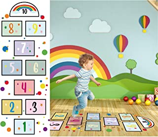10 Number DIY Hopscotch Game Wall Stickers Floor Decals Primary Color Dots Wall Decals Set Colorful Rainbow Floor Decals f...