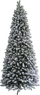KING OF CHRISTMAS 9 Foot Slim King Flock Artificial Christmas Tree Pre-lit with 700 UL Warm White LED Lights