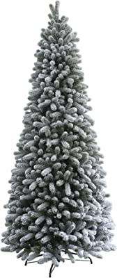 Amazon Com King Of Christmas 7 Foot Prince Flock Pencil Tree Unlit