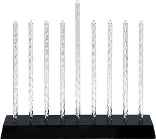 Electric Menorah with LED Bulbs Diamond Cut Aluminum Design - with Multiple Lighting Settings