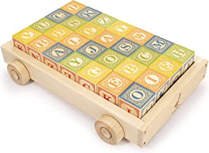 Uncle Goose Classic ABC Blocks with Wagon - Made in The USA
