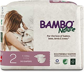 Bambo Nature Eco Friendly Premium Baby Diapers for Sensitive Skin, Size 2 (7-13 lbs), 30 Count