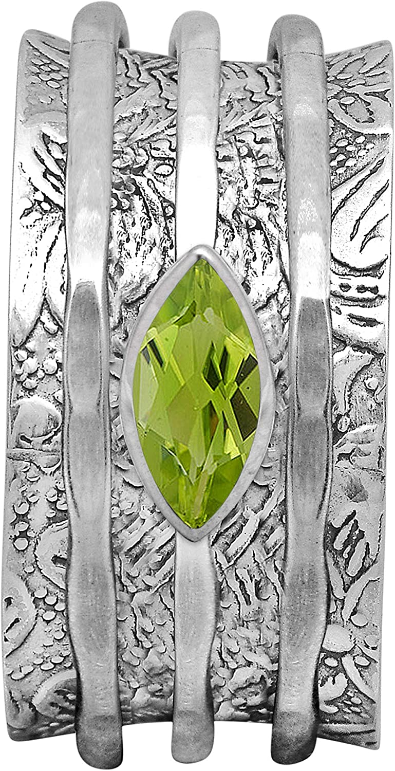 Shine Jewel Spinner Minneapolis Mall Ring with Green Direct store Sterling Peridot 925 Silver