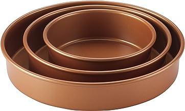 Ayesha Curry 47707 Nonstick Bakeware Nonstick Baking Pan Set/Nonstick Cake Pan Set, Round - 3 Piece, Brown
