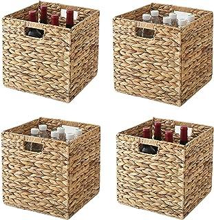 Wicker Cub Baskets Foldable Hyacinth Storage Woven Natural Basket Multipurpose Handwoven Laundry Organizer for Bedroom, Li...