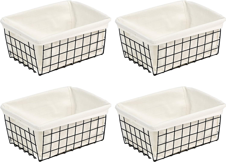Wire Baskets with Liner, YQMM 4 Pack Wire Storage Basket Metal Basket Pantry Organizer Storage Bins Baskets for Freezer Shelf, Cabinet, Pantry, Closets, Kitchen, Bathroom, Garage Organizing