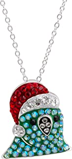 Crystaluxe Santa Party Parrot Pendant Necklace with Swarovski Crystals in Sterling Silver