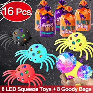 GBD Light Up Spider Mesh Squeeze Novelty Toys,Halloween Party Game Toys for Kids,8 Pack Led Stress Relief Ball Toy Scary Black Spiders Glow in The Dark Party Favors Halloween Trick or Treat Goody Bags