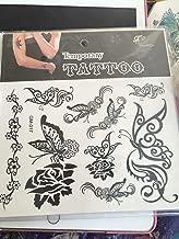 1 x Sheet Superb Black Rose & Butterfly Temporary Tattoo Body Art Sticker Removable Waterproof Stylish Stickers - For Women Men Boys Girls Kids | USA (GM-017)