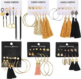 Jacedofu 33 PairsTassel Earrings Layered Long Thread Ball Dangle Earrings Stud Earring Bohemian Tiered Tassel Drop Earrings Fashion Jewelry for Women Girls Valentine Birthday Party Gifts
