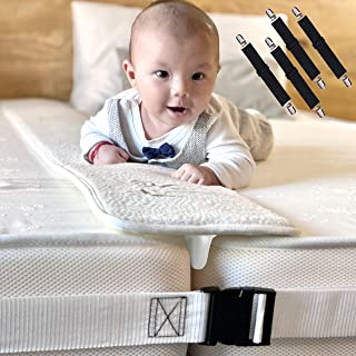 Bamboo Bed Bridge Twin To King Converter Kit -  Wide Bed Gap Filler to Make Twin Beds Into King - Adjustable 2 Inch Wide Mattress Connecting Strap and 4 Bed Sheets Fasteners - Storage Bag Included