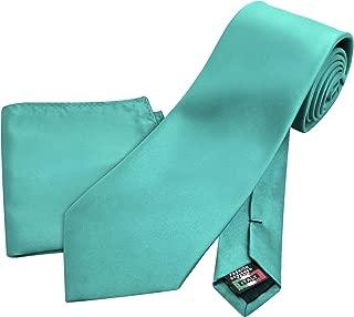 Enimay Men's Solid Combo Pack 2pc Set Tie Handkerchief Turquoise