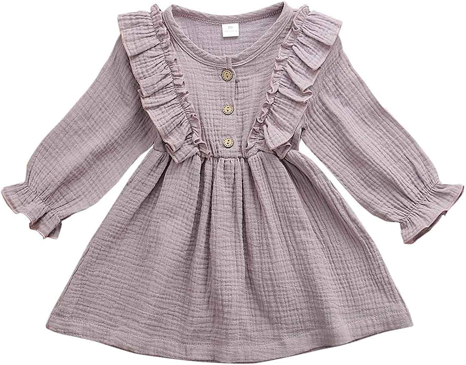 YUIQ Toddler Baby Girls Clothes Corduroy Button Dresses Flared L
