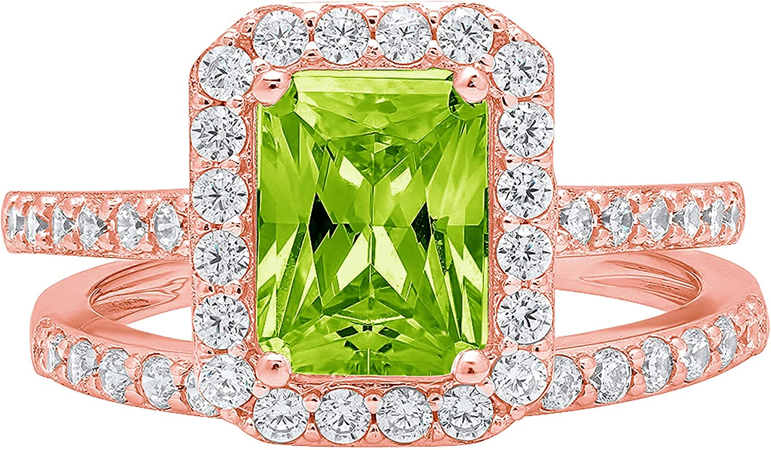 2.14ct Emerald Round Cut Pave Halo Solitaire with Accent VVS1 Ideal Flawless Genuine Natural Vivid Green Peridot Engagement Promise Designer Anniversary Wedding Bridal Ring band set 14k Rose Pink Gold