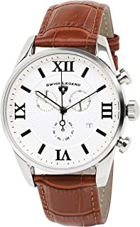 Swiss Legend Men's Belleza Analog Swiss Quartz Watch White Dial and Silver Stainless Steel Case with Brown Leather Strap 22011-02S-BR
