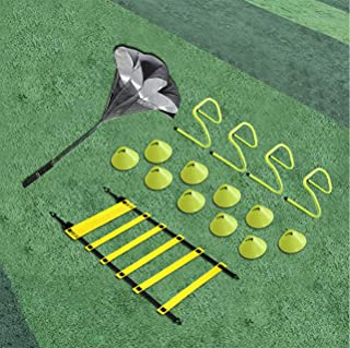 EAZY2HD Speed Agility Training Set- Agility Ladder,12 Cones, 4 Adjustable Hurdles,Parachute|Exercise Workout Equipment Boost Fitness & Increase Quick Footwork|for Soccer,Football,Track Field Train