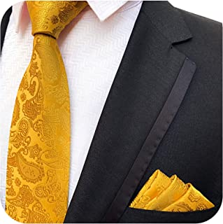 a7be9a8f7c940 MUSTARD GOLDEN YELLOW GOLD LOOK PAISLEY FLORAL TIE AND HANDKERCHIEF HANKY  SET 146cm X 8CM STANDARD