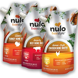 Nulo FreeStyle Bone Broth for Dogs, Cats, 20 fl oz Pouch - Tasty Pet Food Toppers with Turmeric - Nutritious Soup, Gravy -...