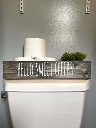 Hello Sweet Cheeks | Decorative Gray | Toilet Topper | Bathroom | Storage Box | Toilet Paper Holder