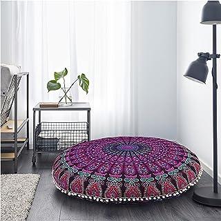 Cojín de piso Cover Mandala Manta recámara Rosa Funda de almohada 81,3cm Ronda Pouf, Boho Cama de Bohemia hogar decoración hippy Decoración Indio Asiento Puf por darjii