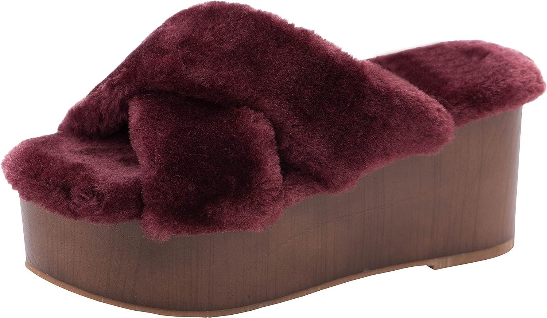 Cambridge Select Women's Open Toe Slip-On Crisscross Strappy Faux Fur Flatform Wedge Slide Sandal