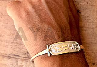 Personalized Sterling Silver Egyptian Cartouche Open Bracelet - Made By AYALZ (Up To 10 Letters)
