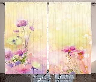 Ambesonne Flower Curtains, Vintage Soft Colored Feminine Magnolia Blooms Whorls Motif Artwork Print, Living Room Bedroom Window Drapes 2 Panel Set, 108
