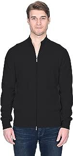 Men's Full Zip Up Cardigan Cashmere Merino Wool Mock Neck Long Sleeve Sweater