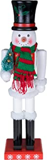 Clever Creations Snowman Nutcracker Black Top Hat and Red & Green Scarf with Miniature Christmas Tree | Collectible Wooden Holiday Nutcracker | Festive Holiday Decor | 100% Wood | 15