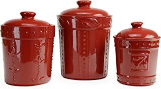 Signature Housewares 70766, Ruby Sorrento Collection Set of Three Canisters, 80 Ounce, 48 Ounce, 36 Ounce, 80 oz/48 oz/36 oz
