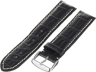 Hadley-Roma Men`s MS2021RA-200 20-mm Black Genuine Alligator Leather Watch Strap
