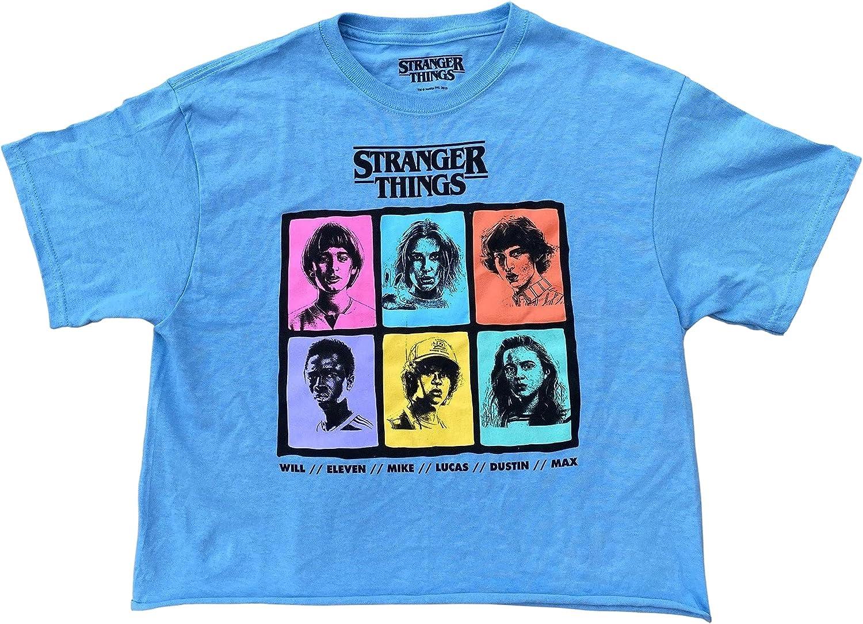 Stranger Things Juniors Young Women's Character Grid Cotton Crop Top T-Shirt