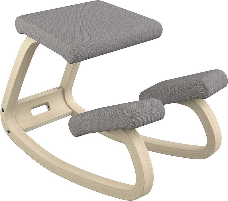 Varier Variable Balans Original Kneeling Chair Designed By Peter Opsvik Dark Grey Revive Fabric With Natural Ash Base