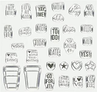 Carpe Diem By Simple Stories 10428 But First Coffee Acrylic Stamp, 6x4.75, Clear