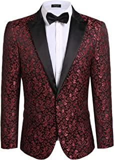 Men's Floral Party Dress Suit Stylish Dinner Jacket Wedding Blazer Prom Tuxedo