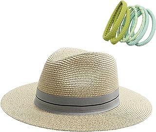 jiaoji Women's Straw hat Panama hat Tweed hat Beach Sun hat Wide Brim