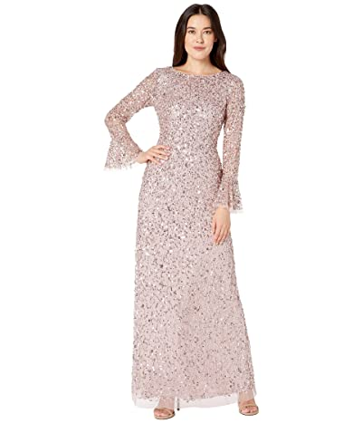 Adrianna Papell Beaded Evening Gown with Bell Sleeves (Cameo) Women