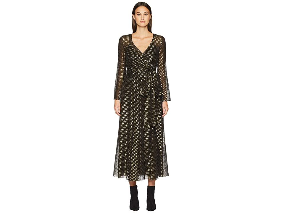RED VALENTINO Silk Lame Fil Coupe Dress (Black) Women