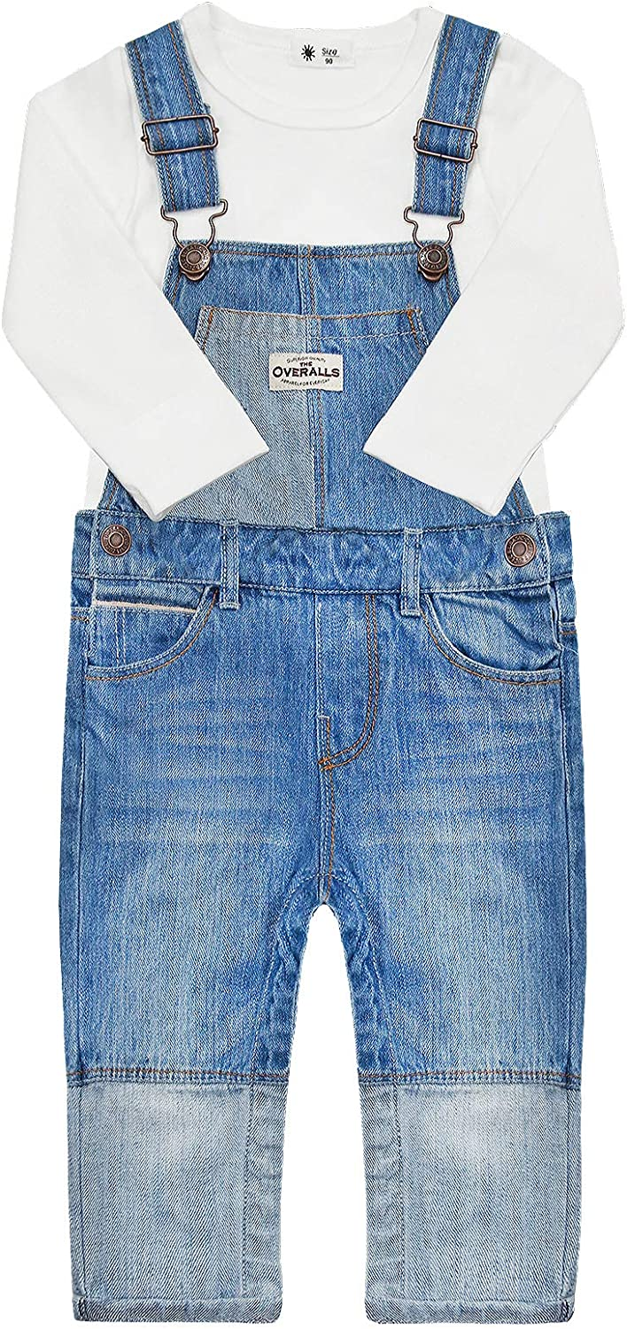 CHUMHEY Baby Solid Long Sleeve White Sweater Patchwork Jeans Overalls Pants Set