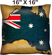 Liili 16x16 Throw Pillow Cover - Decorative Euro Sham Pillow Case Polyester Satin Soft Handmade Pillowcase Couch Sofa Bed Image ID 32841595 Old Vintage Flag of Australia with Territory Borders