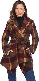 Chigant Women's Trench Coats Plaid Jacket Winter Cardigan Long Coat with Belt