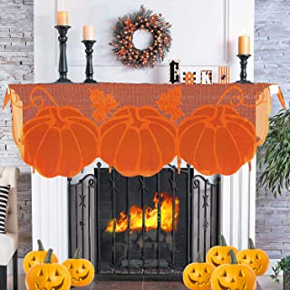 iGeeKid Thanksgiving Decor Fireplace Scarf 20 x 60 Inch Maple Leaves Brown Mantle Scarves Cover Pumpkin Lace Fall Runner Autumn Door Decorations Table Cover for Harvest Festive Party Seasonal Decor