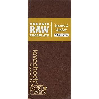 Lovechock Bio Organic Raw Chocolate Tafelschokolade Mandel und Baobab, 85 % Cacao, vegan, glutenfrei, laktosefrei, 70 g