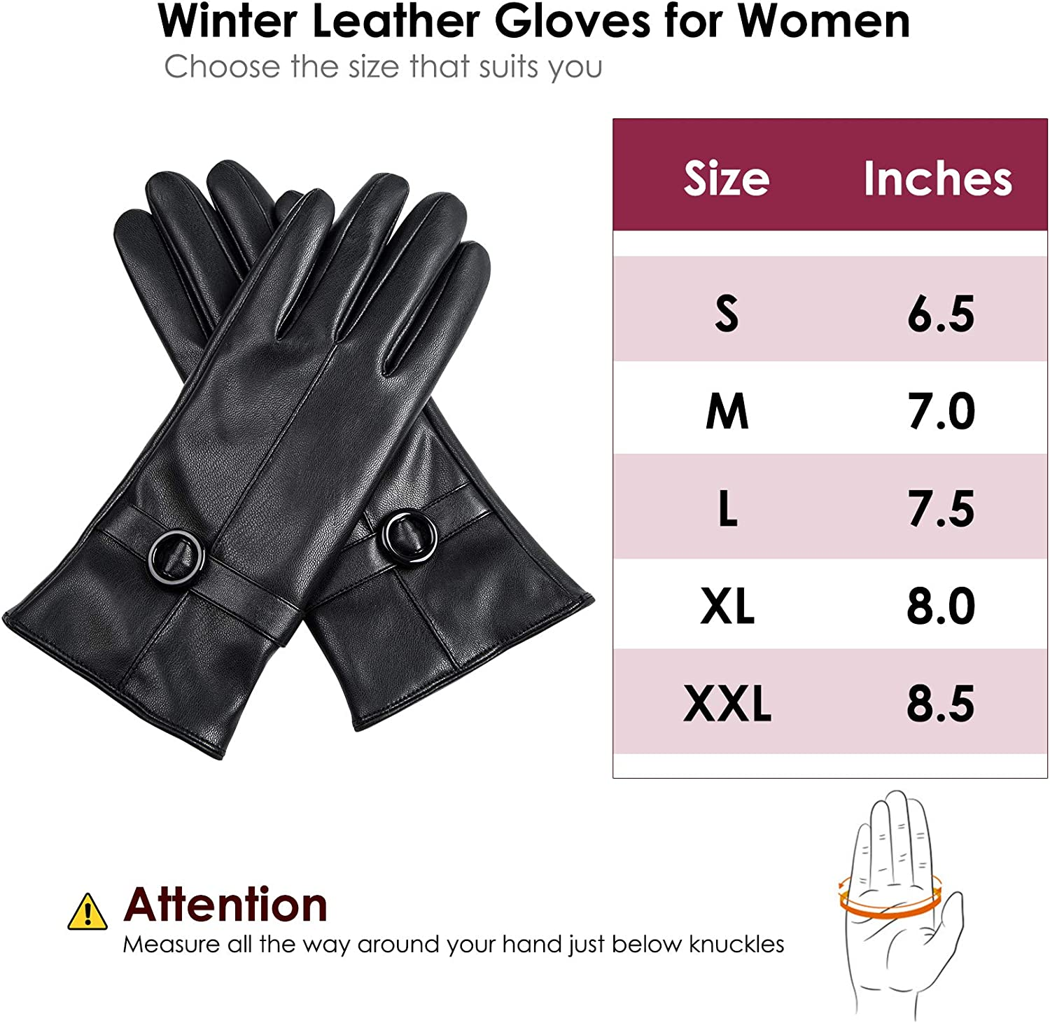 Womens Winter Leather Gloves Touchscreen Texting Warm Driving Lambskin Gloves