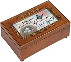 Cottage Garden Greatest Grandma in World Woodgrain Embossed Jewelry Music Box Plays Amazing Grace