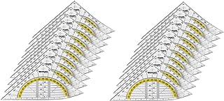 Westcott e-10132 00-i équerre géométrique en plastique, incassable, 14 cm, transparent, 20 pièces