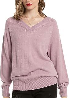 Woolen Bloom Jersey Punto Mujer Básico V Cuello Camisas Manga Larga Chaqueta de Punto Sueter Mujer Jerseys Primavera Veran...
