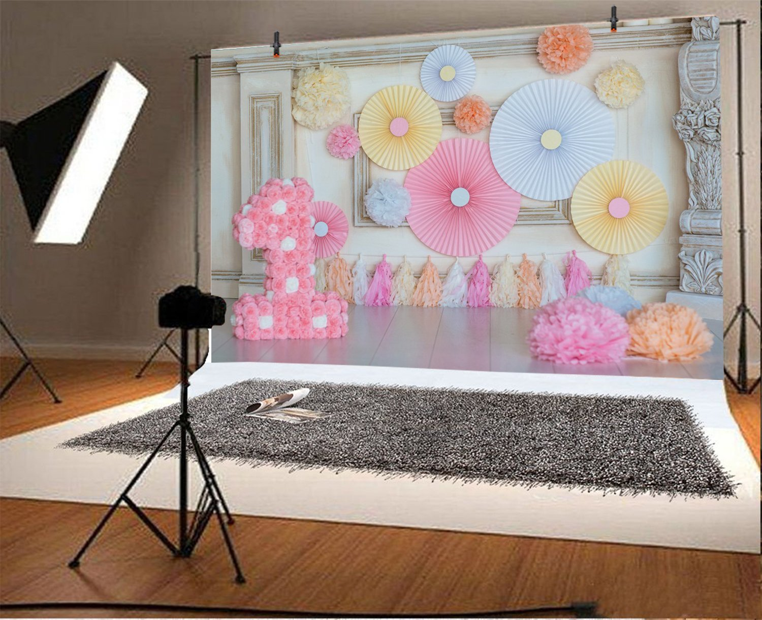 15x10ft 1st Birthday Backdrop Girl Colorful Flowers Balloons Banner Little Princess Cake Smash Photo Shoot Girls First Birthday Party Photo Background Photo Studio Props
